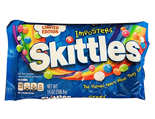 Limited Edition Skittles Imposters 14 Ounce Bag! 5 Flavors, Citrus, Apple, Strawberry, Raspberry and Orange! Fruity Chewy Candies! Choose From 1 Pack Or 2 Pack! (1 Pack)