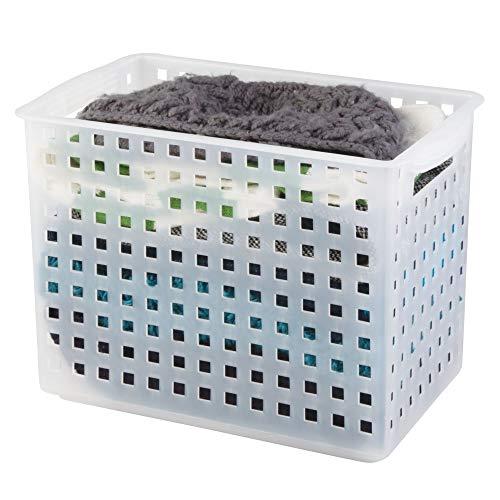iDesign Plastic Open Weave Storage Organizer Bin with Handles for Kitchen, Fridge, Freezer, Pantry, and Cabinet Organization, BPA-Free, 8.63' x 8.5' x 13.88', Clear