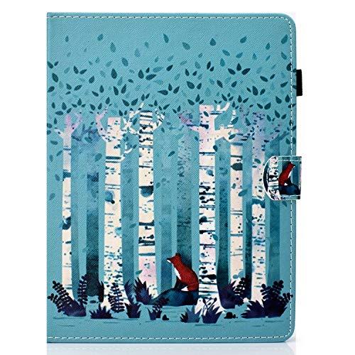 UUcovers Universal-Schutzhülle für 16,5 bis 19,1 cm Tablet, ultradünn, PU-Leder, Rutschfeste Rillen mit Kartenfächern und Stylus-Stift-Halterung für 16,5 bis 19,1 cm Tablet, Fox in Forest