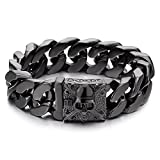 COOLSTEELANDBEYOND Mens Black Large Steel Curb Chain Bracelet with Fleur De Lis and Skull, Biker Gothic, Polished