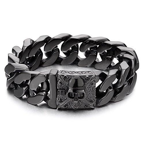 COOLSTEELANDBEYOND Herren Großes Schwarz Edelstahl Panzerkette Armband mit Fleur de Lis und Schädel, Biker Gotik, Poliert