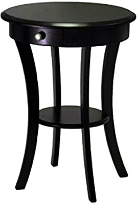 Small Wooden End Table With Drawer And Shelf Storage Round Black Curved Legs Sleek Classic Modern