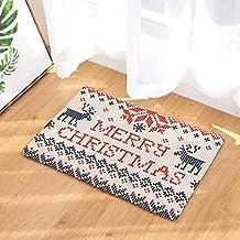 JETTINGBUY Christmas Doormat Welcome Mat Xmas Tree/Santa/Snowman/Snowflake Head/Socks/Crutches Doormat, Non Slip Washable ...