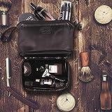 Gentle Mate® Premium Kulturbeutel Herren in Marineblau mit hochwertigen Elementen aus Leder, Kulturtasche Herren aus wasserabweisendem Material, auch optimal als Kosmetiktasche Männer geeignet - 5