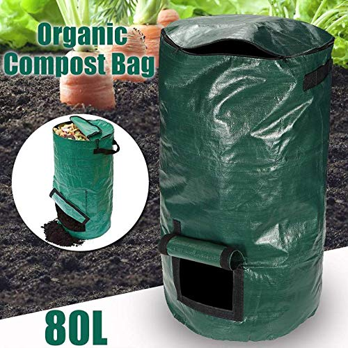 New DELAMZ - Household 80L Organic Waste Kitchen Garden Yard Compost Bag Portable Environmental PE C...