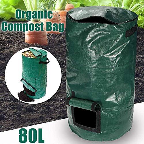 New DELAMZ - Household 80L Organic Waste Kitchen Garden Yard Compost Bag Portable Environmental PE C...