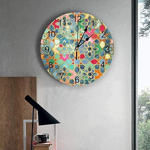 Relojes De Pared Reloj De Pared Con Gráficos Geométricos Marroquíes, Decoración Del Hogar, Dormitorio, Reloj Silencioso, Reloj Digital De Pared, Reloj De Pared Para Habitación De Niños, 30X30Cm