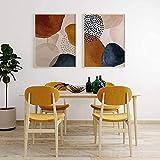 JIAJIFBH Pintura Moderna 2 piezas50x70cm sin Marco Arte Fluido Dorado nórdico Tono de Tierra imprimible Arte e impresión de Pared Abstracta para decoración Moderna de Sala de Estar