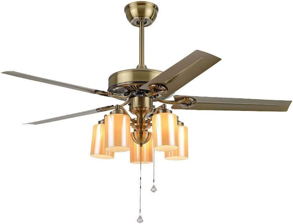 Ventilador de techo Ventilador de techo hoja Americano del Hierro simple lámpara de la sala de estar Comedor Dormitorio principal de la lámpara del ventilador mudo de control remoto Luces de ventilado