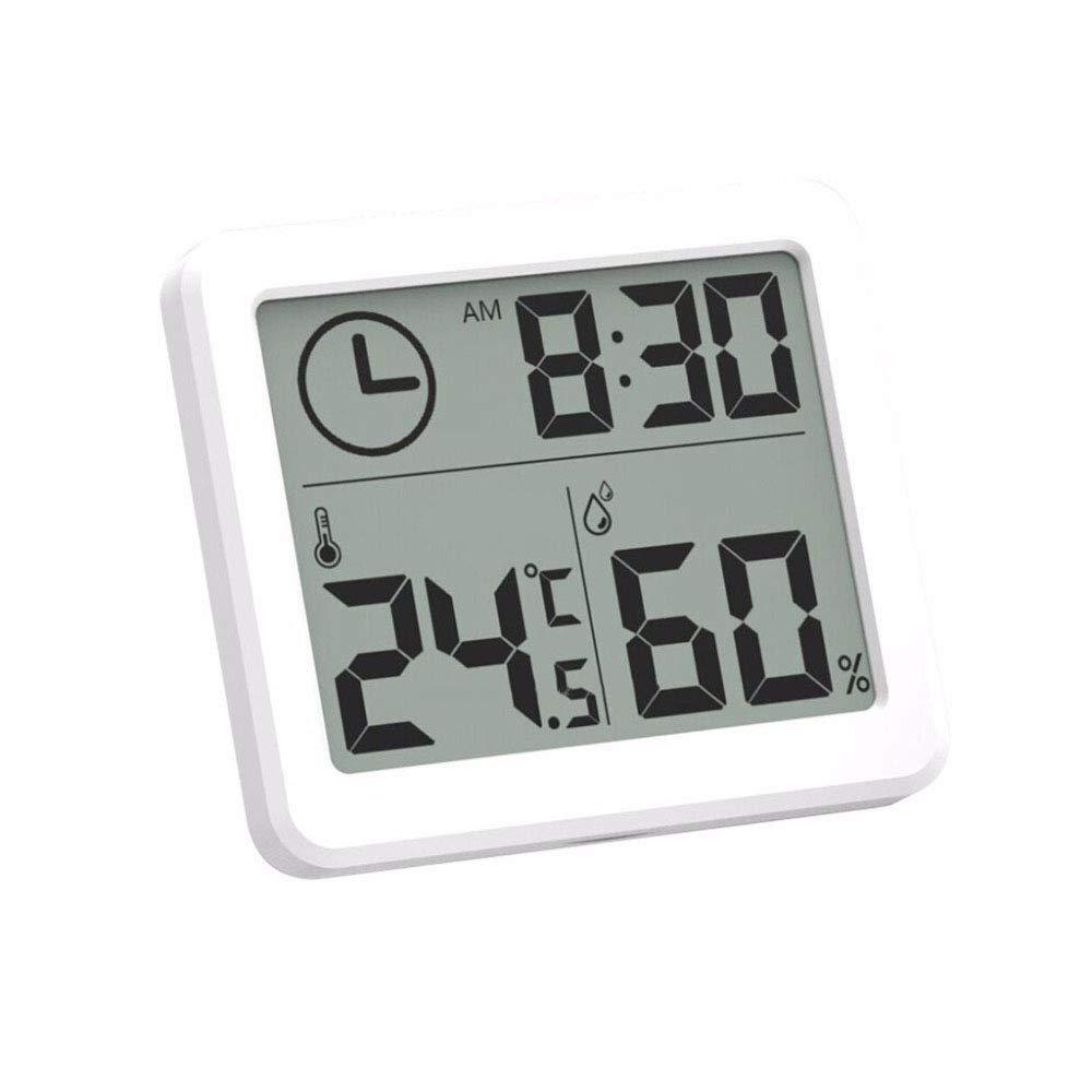 Winbang Termohigrómetro Digital, termómetro Digital para Interiores Higrómetro LCD C/F Temperatura Humedad Monitor Medidor Reloj Despertador -10 a 70 Grados Celsius: Amazon.es: Hogar