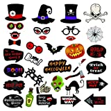 JoyTplay 34Piezas Halloween Photo Booth Props Photocalls DIY Foto Atrezzo Photobooth para Fiesta Mascarada Navidad Aniversarios Cumpleaños