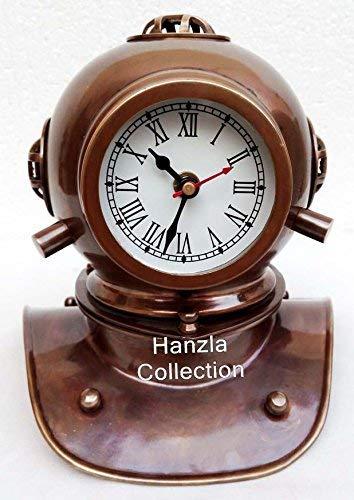 Asmara Taucherhelm-Uhr, nautisches Vintage-Design, antikes Messing, nautisches Sammlerstück für den Schreibtisch