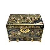 ZSML boîte à Bijoux en Bois Chinois boîte de Rangement Pingyao Push lumière Laque Artisanat Bijoux...