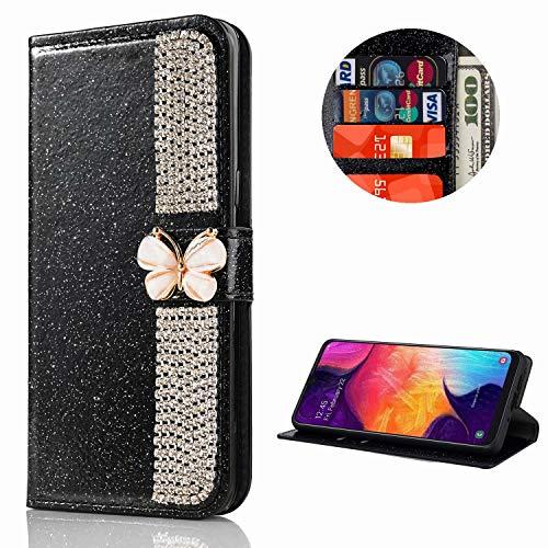 Miagon Hülle Glitzer für Huawei P40 Pro,Diamant Strass Schmetterling Kette PU Leder Handyhülle Ständer Funktion Schutzhülle Brieftasche Cover,Schwarz
