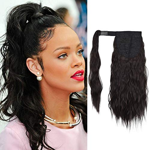 SEIKEA 16 Inch Clip in Ponytail Extension Wrap Around Long Wavy Curly Pony Tail Hair Fluffy Synthetic Hairpiece for Women - Black Brown
