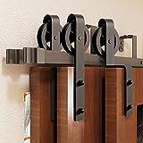 Homacer Black Rustic Triple Bypass Sliding Barn Door Hardware Kit, for Three Doors, 9ft Long Flat Track, Spoke Wheel Design Roller, for Interior & Exterior Use