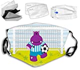 2021 Fashionable Cute Hippopotamus Soccer Goal Keeper Football Cartoon Print Mouth Cover for Women,Face Mask Reusable Washable Cloth for Men