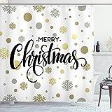 ABAKUHAUS Weihnachten Duschvorhang, Merry Xmas Snowflake, Set inkl.12 Haken aus Stoff Wasserdicht Bakterie & Schimmel Abweichent, 175 x 200 cm, Multicolor