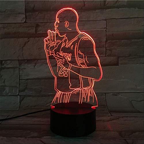 Lámpara de ilusión óptica 3D, figura de Kobe Bryant del jugador de baloncesto, luz de noche LED 3D USB, lámpara de mesa con cambio de color del sensor táctil 7, regalo de cumpleaños para niños