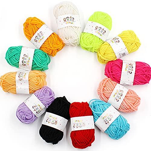 BKJJ Ovillos de Lanas de Hilo Acrílicos, Hilo de Ganchillo, Lana de Ganchillo Multicolor para Tejer Handcrafts Crochet Hilo Acrílico Manualidades 12 Colores