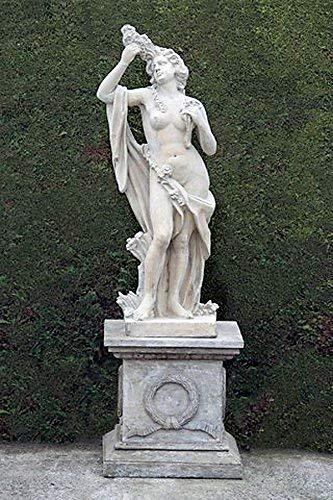 pompidu-living Steinfigur Frau mit Blumen H 200 Farbe Hellgrau Farbe Hellgrau