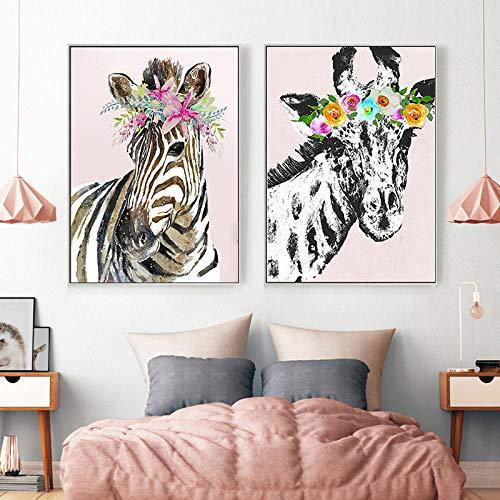 Cuadros en lienzo Jirafa moderna y cebra Carteles e impresiones de animales minimalistas Pintura en lienzo para sala de estar Dormitorio Decoración de jardín de infantes-50X70Cmx2 piezas sin marco