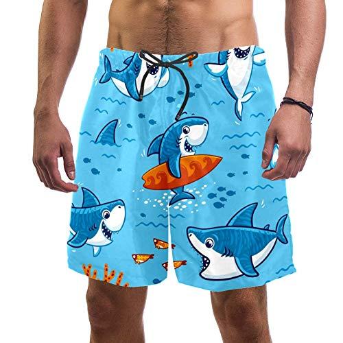 Shiiny Herren Badehose, süßer Haifisch, schnelltrocknend, Sommer, Surfen, Strand, Boardshorts mit Netzfutter, Größe L Gr. XXL, mehrfarbig