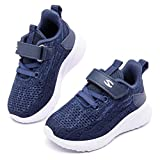 HOBIBEAR Kids Knit Running Shoes Breathable Lightweight Mesh Athletic Sneakers (Dark Blue AS,2 Little Kid)