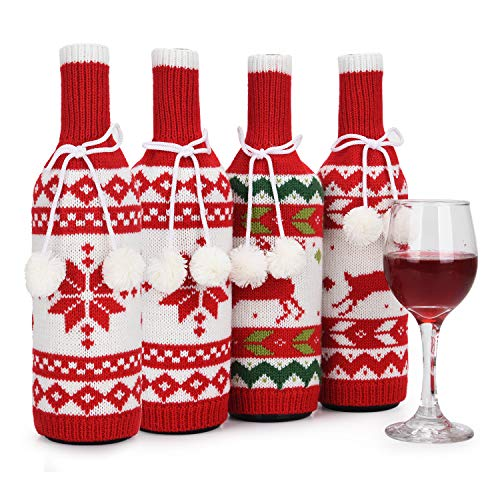Christmas Wine Bottle Covers, Handmade Sweater Wine Bottle Bags for Christmas Decorations, Reusable Wine Gift Bags for Christmas, Wedding, Birthday, Travel, Holiday Party, Set of 4