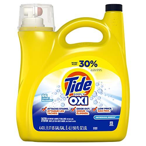 Tide Simply + Oxi Liquid Laundry Detergent, Refreshing Breeze, 96 Loads, 150 Fl Oz