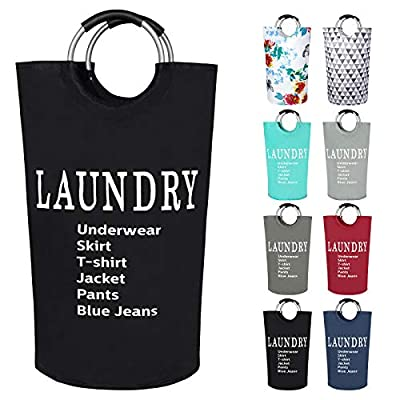 Dalykate Large Laundry Basket 82L Collapsible Oxford Fabric Laundry Hamper Foldable Clothes Laundry Bag with Handles Waterproof Washing Bin Portable Dirty Clothes Basket for College Dorm, Family