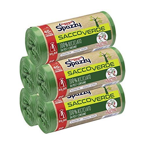 Domopak Spazzy Sacos de red Saccoverde enrollados y cerrados 100% reciclados de posconsumo – Casalingo 40 l – Verde – 5 paquetes de 20 unidades – 1350 g