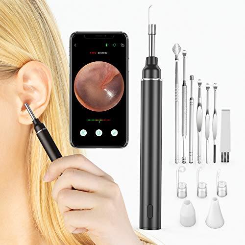 VITCOCO Otoskop 3.0mm Durchmesser Ultra Dünn HD Ohr Endoskop 2020 Neues Upgrade WIFI Ohren Reinigung Endoskopkamera mit Ohrenschmalz entferner und 6 LED-Leuchten für iPhone/iPad, iOS, Android