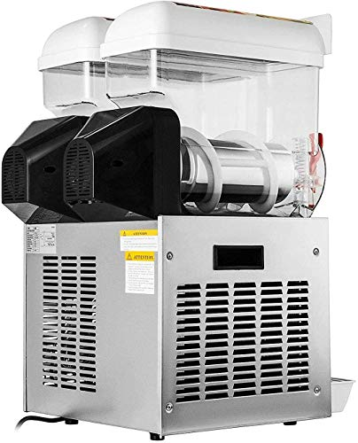 Happybuy 15L x 2 Tank Commercial Slushy Machine 110V 400W Stainless Steel Margarita Smoothie Frozen Drink Maker Suitable Perfect for Ice Juice Tea Coffee Making, 15L x 2 Tank