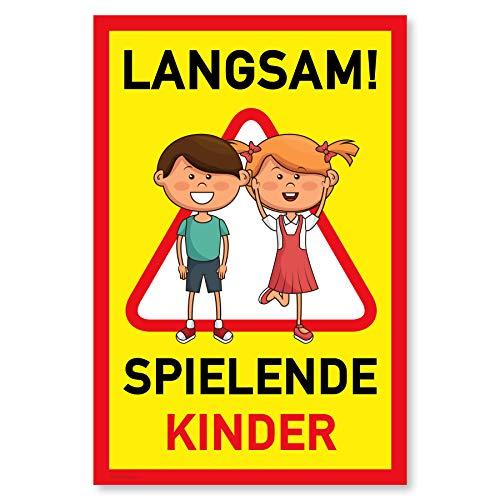 Achtung Kinder Schild (20x30 cm Kunststoff) - Warnschild spielende Kinder - Vorsicht Hier Spielen Kinder - Bitte langsam Fahren - 511653