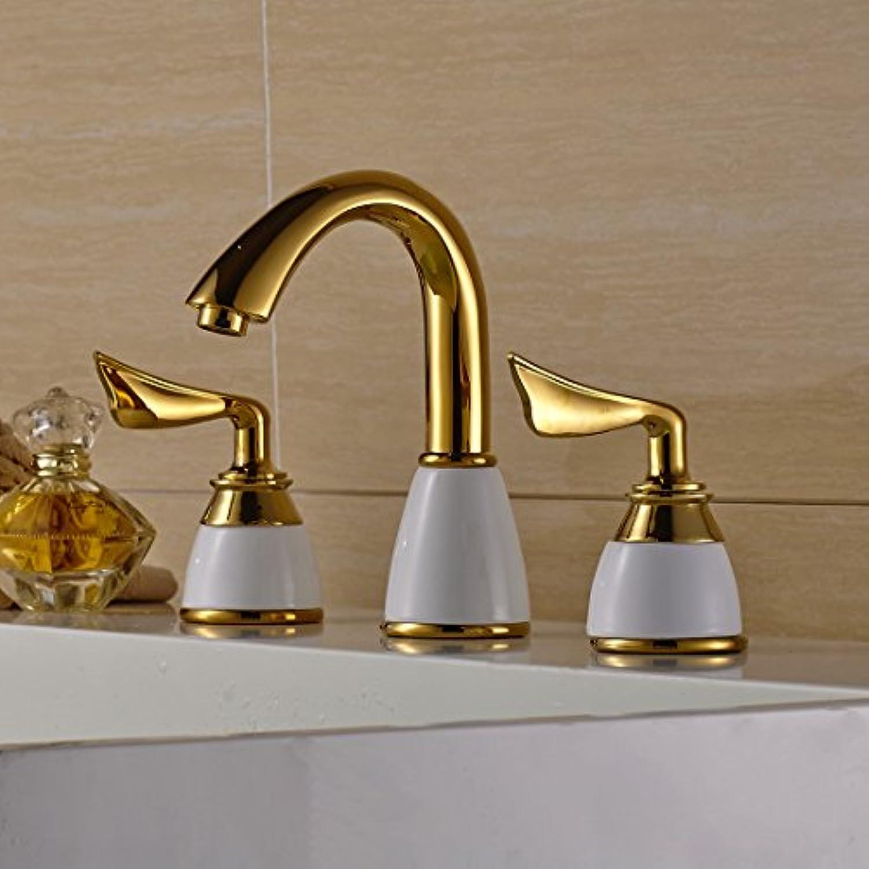 Caribou@Waschtischarmatur Wasserhahn Spültisch Küche Waschtisch Waschenbecken Bad Europischen Gold Keramik Kupfer zwei Griff warmes und kaltes Wasser Badezimmer Waschbecken Wasserhahn