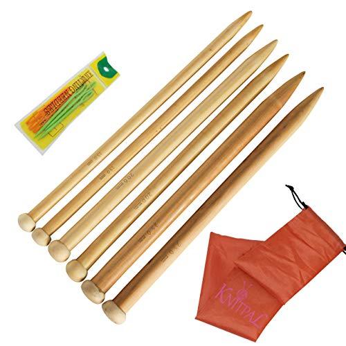 KnitPal 16' Jumbo Straight Wooden Knitting Needles Set of 3 Beginner's Ebook I 4 Handmade Label | Large US Sizes 19, 35, and 50 | Oak Wood Thick Knit Needle Kit for Huge Chunky Yarn