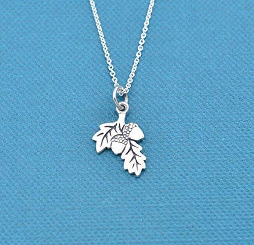 """Girl's, Teen's, Women's Acorn necklace in sterling silver on a 16"""" sterling silver rolo or cable chain. Acorn necklace. Acorn Gifts. Fall jewelry."""