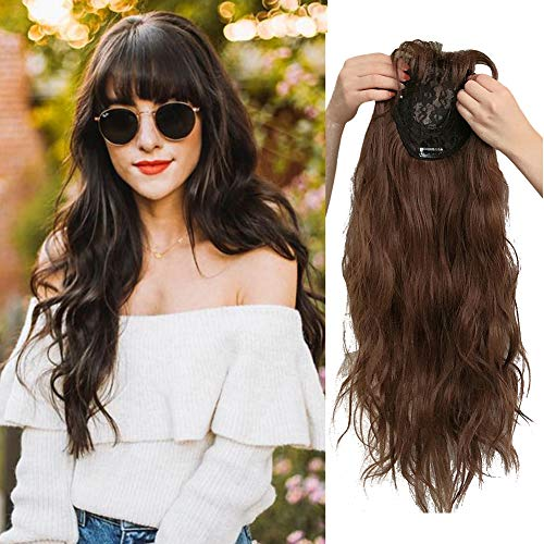 Middle Part Clip in Crown Hairpiece Loose Curly Topper with 3D Neat Fringe for Full Head Wear Dark Brown