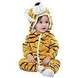 Cooky.D Pyjama à capuche pour bébé en flanelle - Taille 70 cm (2 - 5 mois) - Marron - Lion