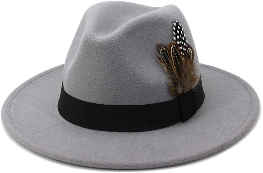 Unisex Autumn 100% Wool Women Men Wide Brim Winter Felt Trilby Fedora Hat with Feather Band Cashmere Gangster Church Hat,2