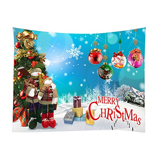 Sinifer Hanging Christmas Tapestry Room Wall Decoration | High Definition Digital Printing Ornament | Snow, Snowman, Stars, Santa 90 X 60 Inch(B)