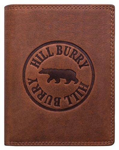 Hill Burry Geldbörse Herren Leder | Großes Portemonnaie aus echtem Leder | Hochwertiger Geldbeutel mit RFID-Schutz - Hochformat (Braun MD2)