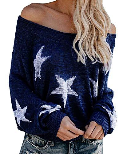 Tomwell Mujer Jerséis Moda Impresión de la Estrella Suéter Largo Casual Jersey Prendas de Punto de Cuello Barco Mangas Largas Camiseta Tops Azul ES 38