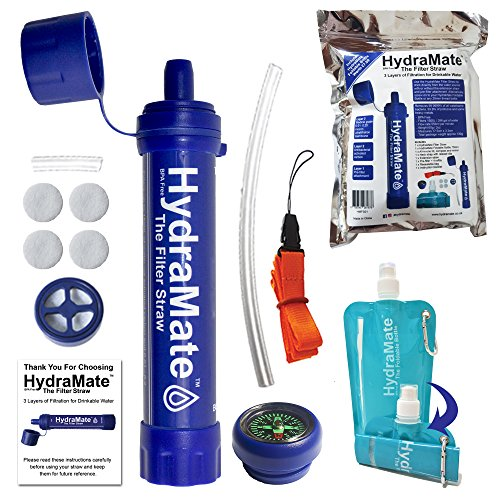 HydraMate Strohhalm, zur Trinkwasserreinigung. Entfernt Bakterien, Parasiten, Protozoa und Schwermetalle mit Karbon und UF Membranen. 1500L Kapazität. Inklusiver faltbarer Mehrwegflasche und mehr!