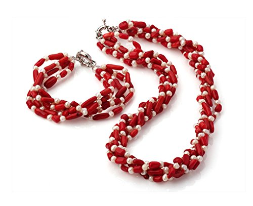 TreasureBay Multi-Strand Twisted Natural White Freshwater Pearl And Red Coral Necklace and Bracelet Set