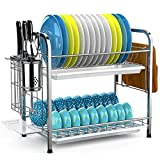 Dish Drying Rack, iSPECLE 2-Tier 304 Stainless Steel Dish Rack with Utensil Holder, Cutting Board Holder and Dish Drainer for Kitchen Counter, Dish Dryer Silver
