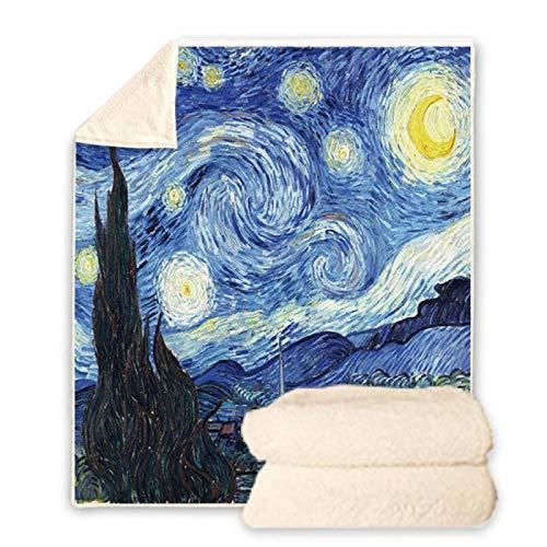 BHOMLY Manta De Franela Van Gogh Pintura De Fama Mundial Cielo Estrellado Azul 150X180Cm/59X70 Inch Sherpa Estampada Águila 3D Manta De Franela Mediano Tamaño Suave Y Cálida Manta Para Sofá Y Cama Adu