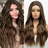 BLONDE UNICORN Peluca larga recta con encaje frontal y peluca de pelo castaño rojizo para mujer