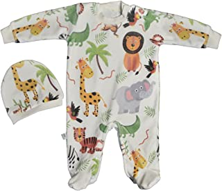 Baby Shoora botanical fibers baby bodysuit & hat printed Animals for boys Multicolor-0-3Month